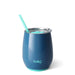 Swig Life Blue Stemless Wine Glass With Straw