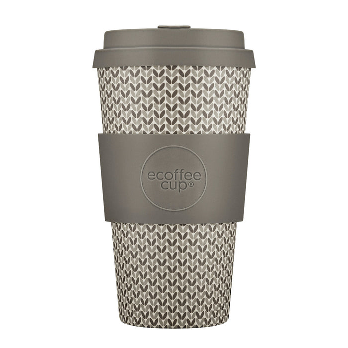 16oz 470ml Ecoffee Reusable Cups With Silicone Lid Tops, Made With Natural Bamboo Fibre