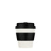 ecoffee reusable bamboo coffee cup in white with black lid and sleeve