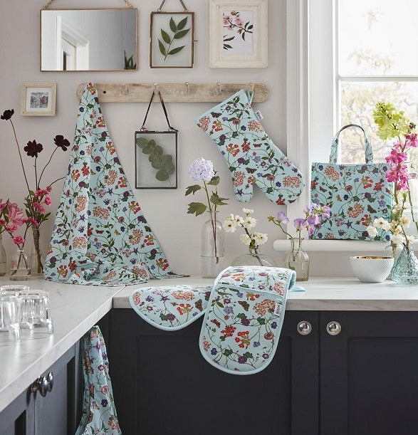 Ulster Weavers RHS Spring Floral Collection Set Against A Black & White Kitchen