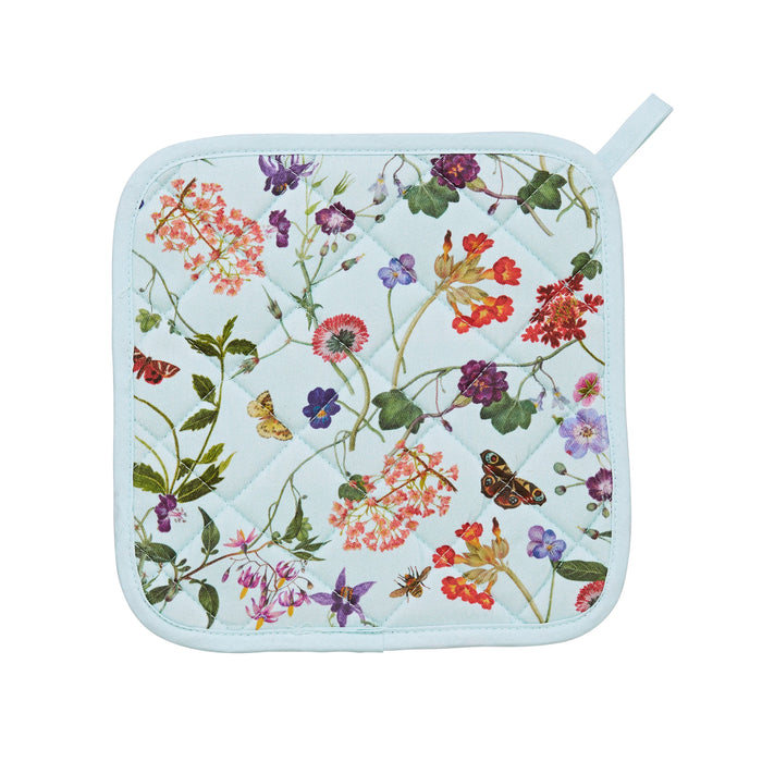 Square Kitchen Pot Mat With Wilflower Spring Floral Design Against A Light Blue Background