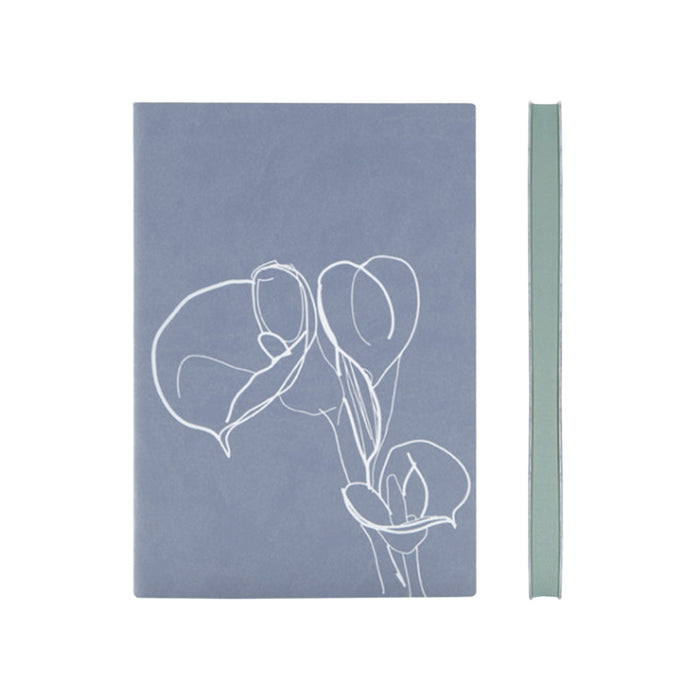 Signature Floral Doodles A5 Plain Notebook Fine Italian PU Soft Cover, 176 Page - W151mm x H212mm, Various Colours