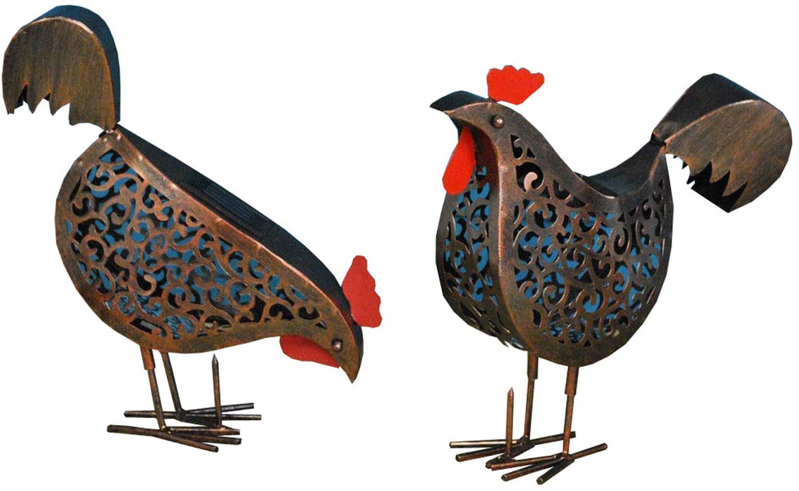 Shop Now 2 Pair of Metal Scroll Hens With Solar Powered Lighting For Garden