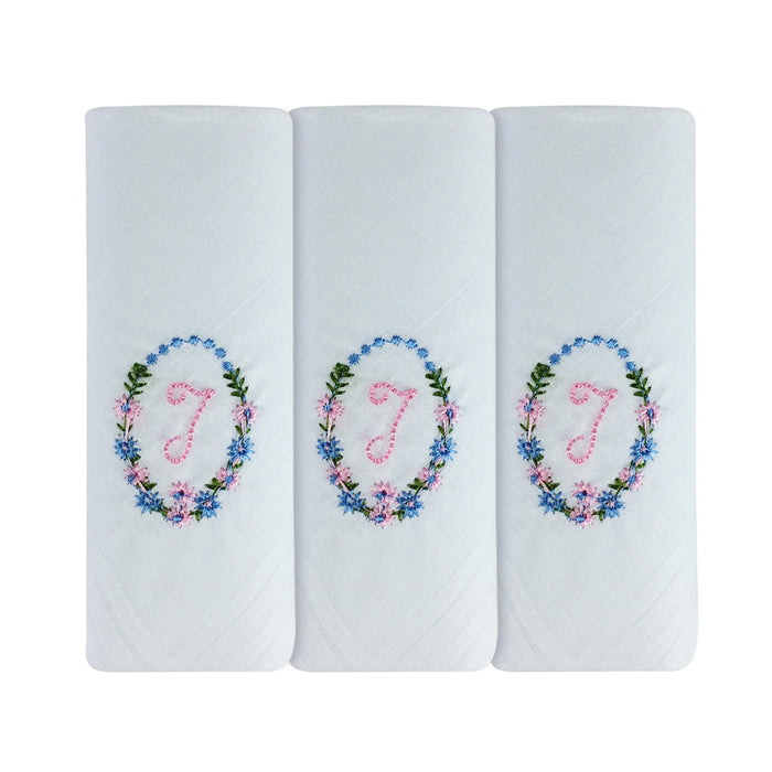 3 Pack Of Womens/Ladies Embroidered Initials Handkerchiefs With White Satin Border, Various Initials