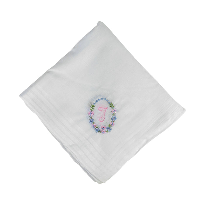 13 Pack Bakers Dozen Womens/Ladies White Handkerchiefs With Initial Embroidery, 100% Cotton, Various Letters