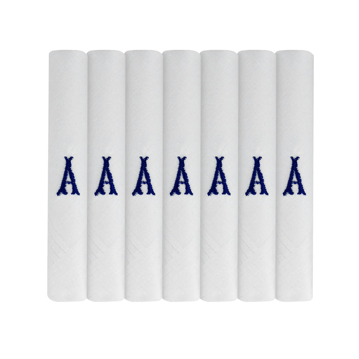 7 Pack Of Mens/Gentlemens White Satin Bordered Handkerchiefs With & Blue Embroidered Initials, Various Letters