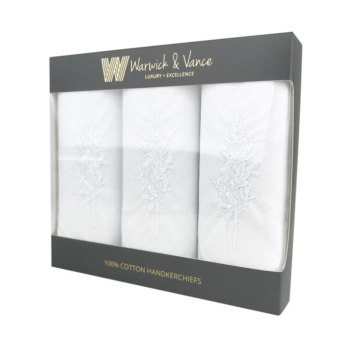 3 Pack Womens/Ladies Handkerchiefs Floral White Cotton Satin Border Gift Boxed