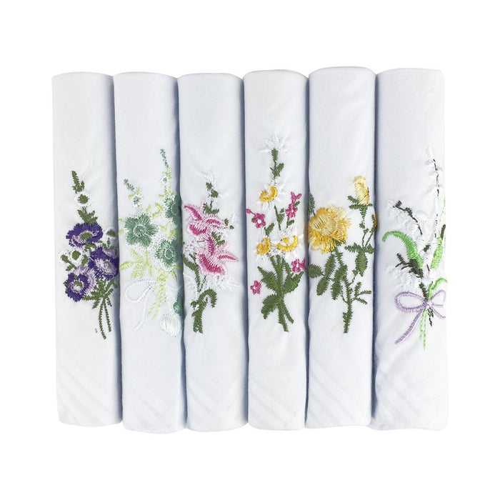6 Pack Womens/Ladies Handkerchiefs Floral White Cotton Satin Border Gift Boxed