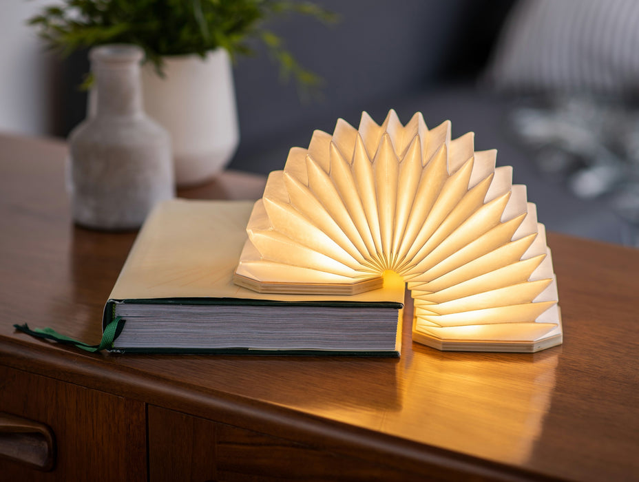 Gingko LED Smart Accordian Desk Light with Natural Wood Effect Finish, Rechargeable with Micro USB Charger, Various Styles
