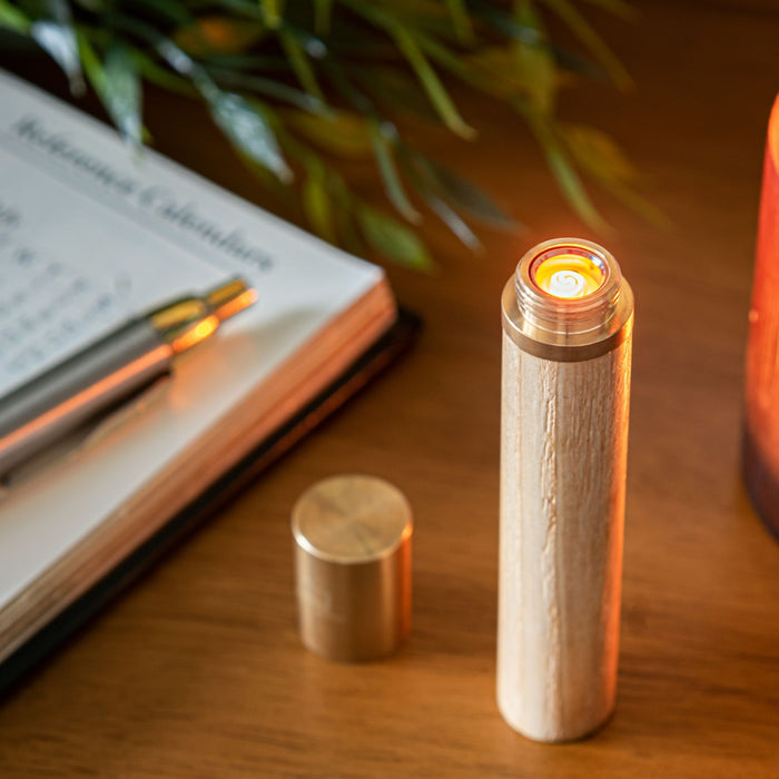 Gingko Natural Wood Flameless Element Lighter Gift Boxed & Rechargeable Via USB