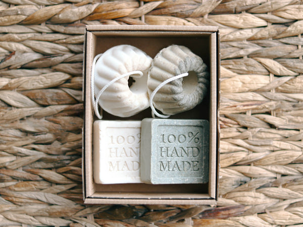 Natural handmade clay soaps in a box