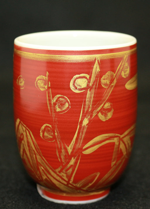 19205 近藤悠三 (Red painting plum Gilded Teacup) KONDO Yuzo