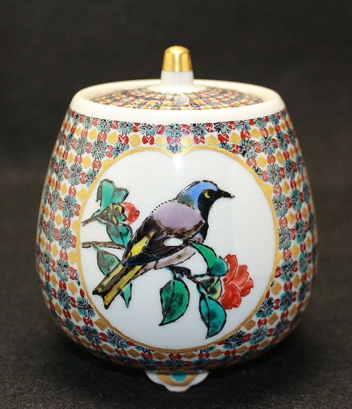 23595  北出星光  (Coloring Gilded Flower and bird illustration Incense burner) KITADE Seiko