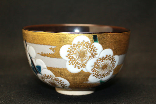 24030  文化勲章  楠部彌弌 (Color picture white plum tea bowl) KUSUBE Yaichi