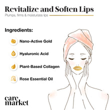 Load image into Gallery viewer, benefits of gold lip gel masks from care market that are enriched with collagen