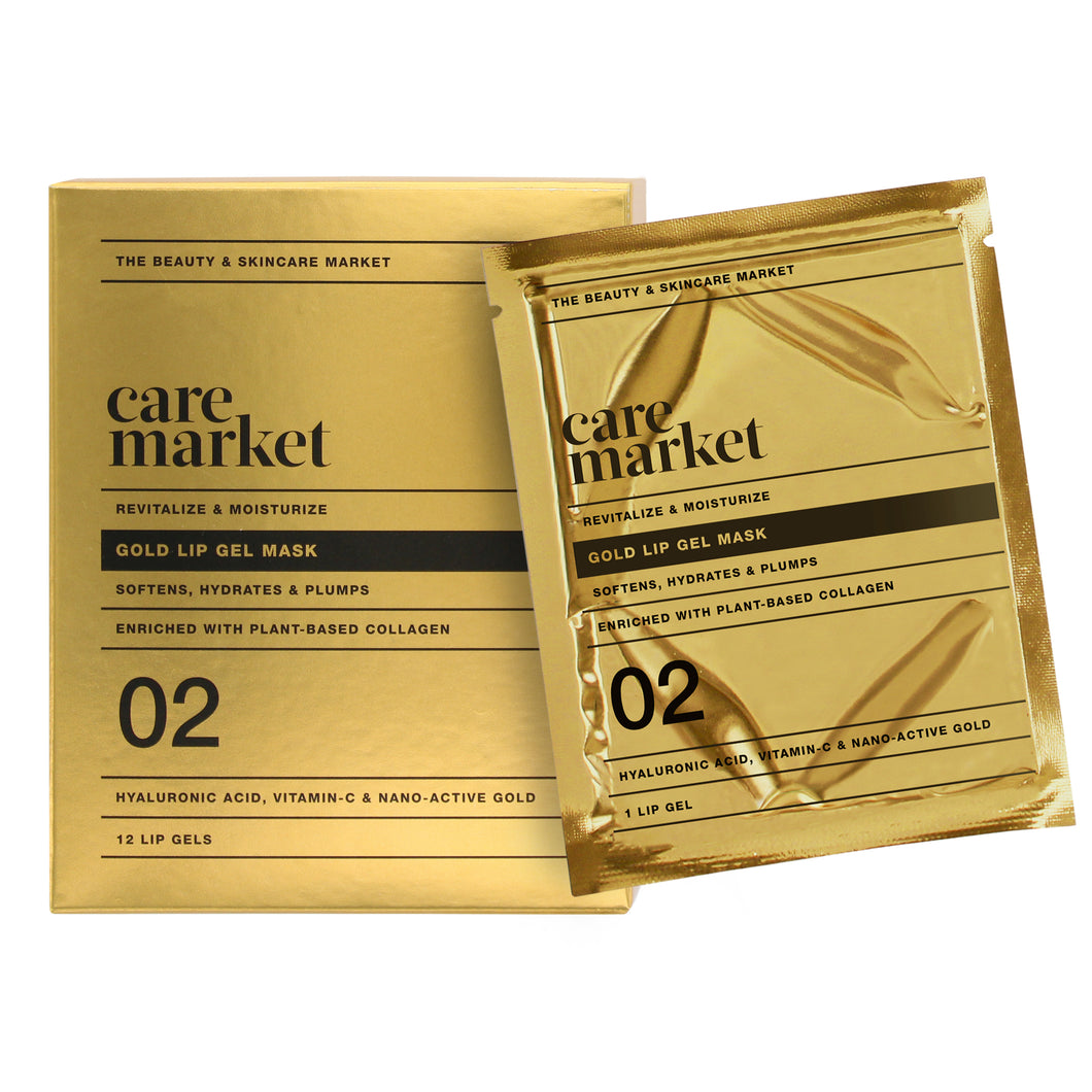 24k gold collagen enriched lip gel masks from care market that help soften and plump lips