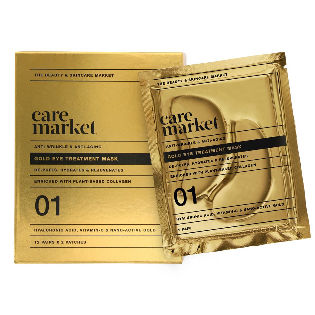 24k gold under eye mask patches from care market that help reduce puffy eyes