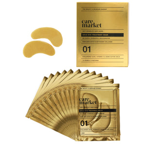 24k gold under eye mask patches from care market that help remove wrinkles and fine lines around eyes