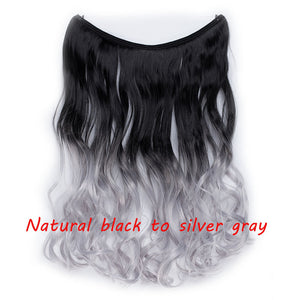 S-noilite 20 inch Invisible Wire No Clip One Piece Halo Hair Extensions Secret Fish Line Hairpieces Wave Straight Synthetic