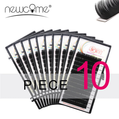 NEWCOME All Size Eyelashes Extensions 10 Cases Eye Lashes BCD Curl Korea Silk Individual False Fake Eyelash Makeup Tools