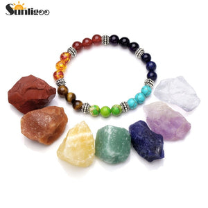 Sunligoo 7 Chakra Healing Crystals Natural Rough Raw Stones+Natural Gem Stone Chakra Bracelet Meditation Set Energy Stone Decor