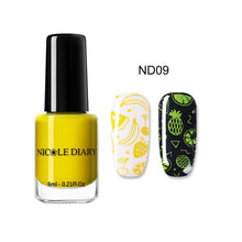 Load image into Gallery viewer, NICOLE DAIRY Black White Nail Stamping Polish Lacquer Gold Silver Nail Art Plate Stamp Oil White Night Stamping Series
