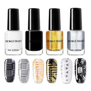 NICOLE DAIRY Black White Nail Stamping Polish Lacquer Gold Silver Nail Art Plate Stamp Oil White Night Stamping Series