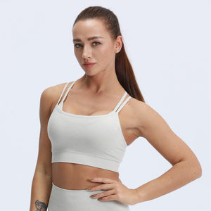 ACTING Women Marl Strappy Padded Seamless Sports Bra Top Double Layered Cross Back