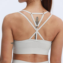Load image into Gallery viewer, ACTING Women Marl Strappy Padded Seamless Sports Bra Top Double Layered Cross Back