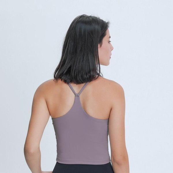 EMOTION Buttery Soft Women Workout Crop Tank Bras with Y Strappy Back
