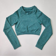 Load image into Gallery viewer, ACTING Basic Women Long Sleeve Cropped Seamless Top Slick Soft with Scrunch on Back