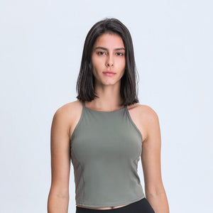 BENO Women Sleeveless Crop Tank Top with Shelf Buit In Bra