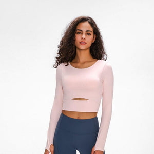 WIND Women Long Sleeve Cropped Top with Padded Bra