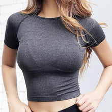 Load image into Gallery viewer, Cropped Seamless Short Sleeve Top