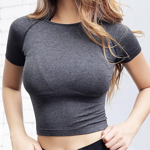 Cropped Seamless Short Sleeve Top