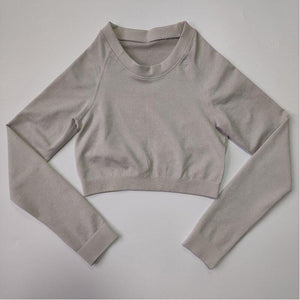 ACTING Basic Women Long Sleeve Cropped Seamless Top Slick Soft with Scrunch on Back