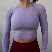 Load image into Gallery viewer, Cropped Seamless Long Sleeve Top