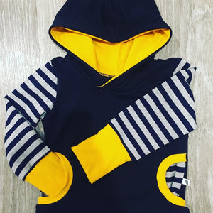 Lil Moo Grow with me Hoodie - Mustard/Navy 3-12months