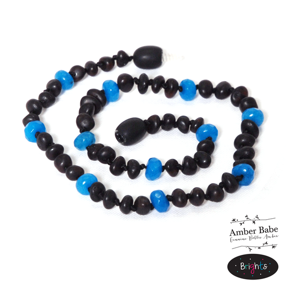 Genuine Baltic Amber Teething Necklace-Brights BLUE