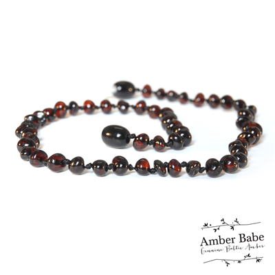 Genuine Baltic Amber Teething Necklace Dark Cherry
