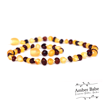Genuine Baltic Amber Teething Necklace Raw Cherry and Lemon