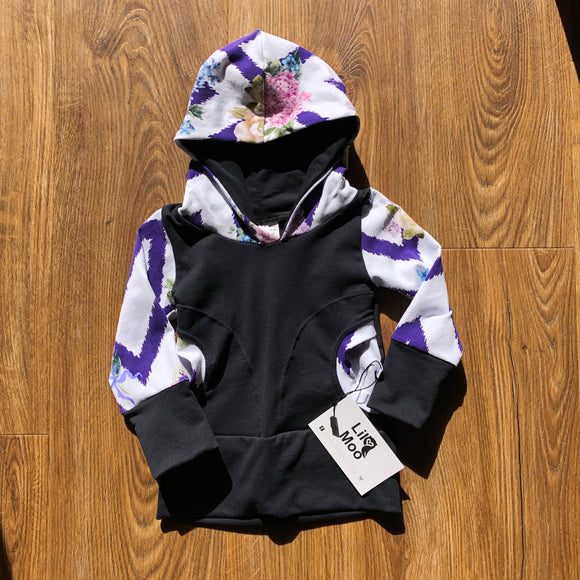 Lil Moo Grow With Me Hoodie -  Zig Zag Floral 3-12 Months