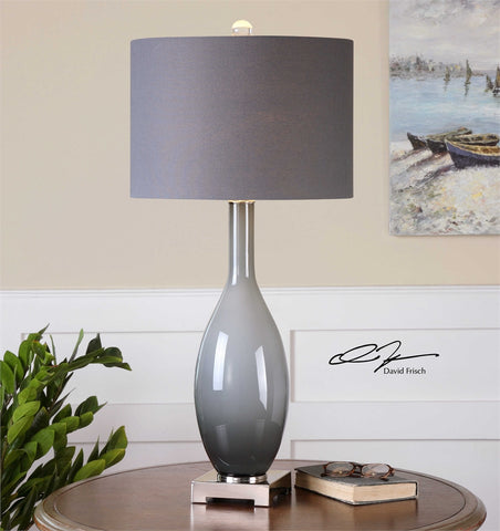 Uttermost Vallo Smoke Gray Table Lamp - K&R Interiors