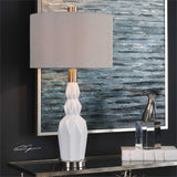 Uttermost Cabret Gloss White Ceramic Table Lamp - K&R Interiors