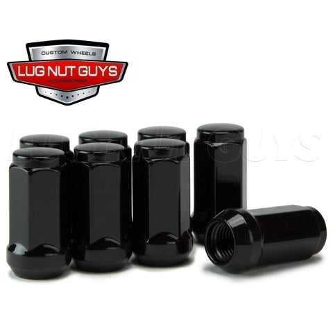 "Bulge Acorn Lug Nut 14x1.5 Black 3/4"" Hex Flat Top 1.75"" Tall"