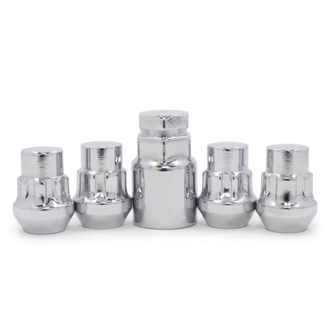 "Locking Lug Nut Set 12x1.75 Chrome Bulge Acorn 1.26"" Tall"