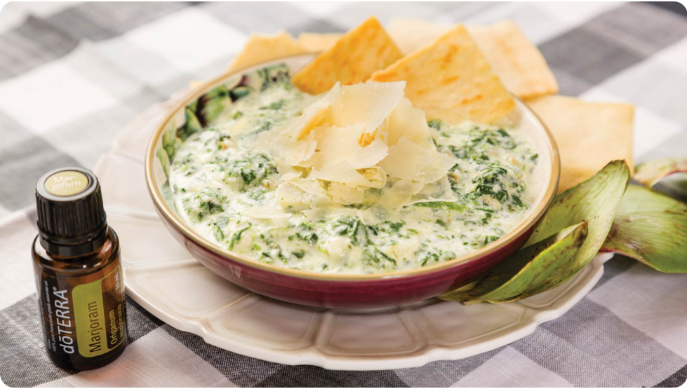 Low-Fat Spinach Artichoke Dip with dōTERRA Marjoram
