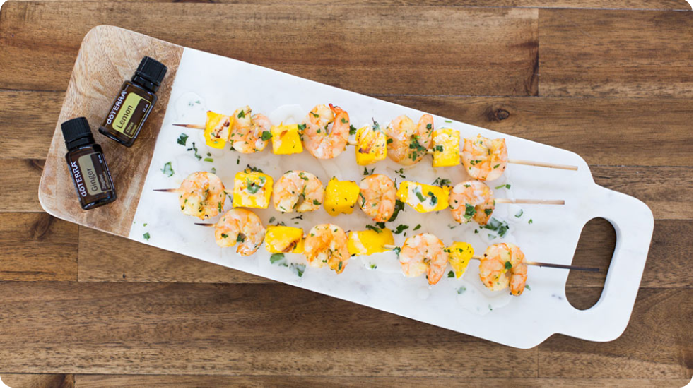 Shrimp and Mango Skewers with dōTERRA Ginger