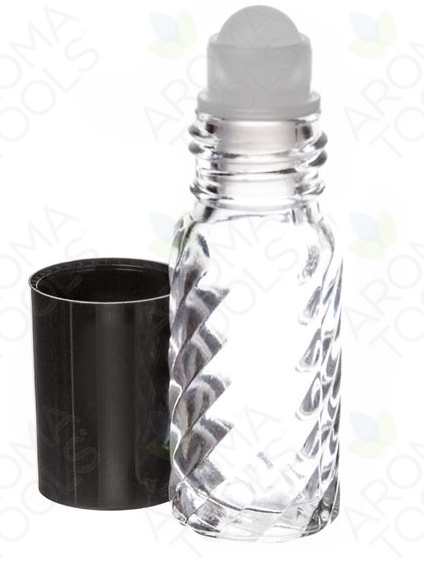1/6 OZ. CLEAR SWIRLED GLASS ROLL-ON VIALS WITH BLACK CAPS (PACK OF 6)