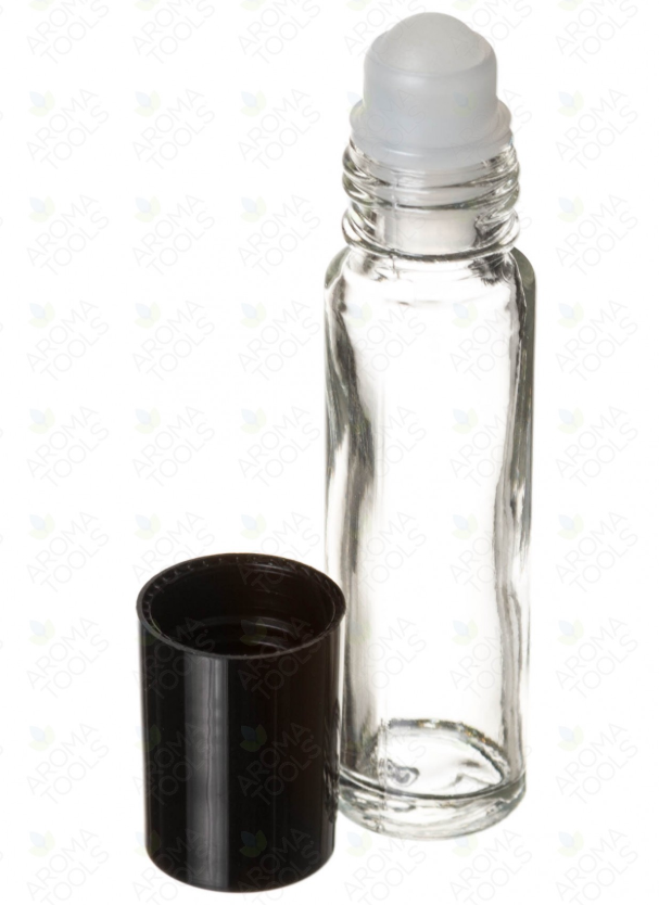1/3 OZ. CLEAR GLASS ROLL-ON VIALS WITH BLACK CAPS (PACK OF 6)
